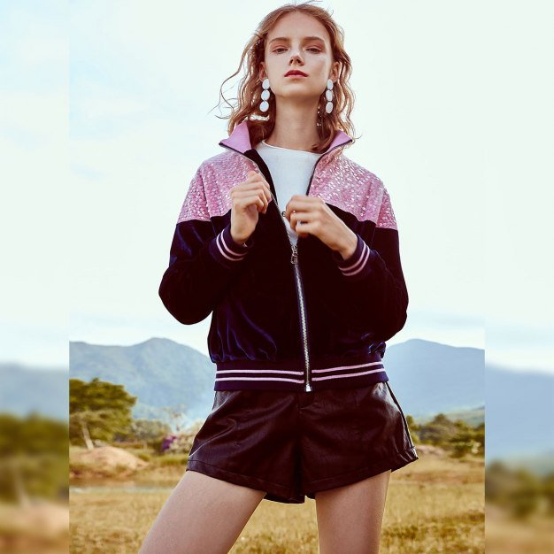Blue Contrast Color Lapel Long Sleeve Standard Women's Outerwear