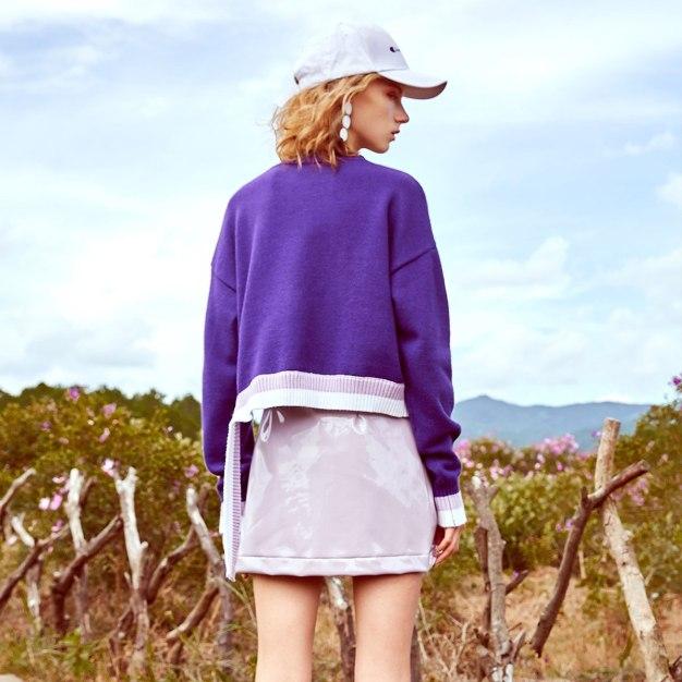 Purple Round Neck Elastic Long Sleeve Loose Women's Sweater