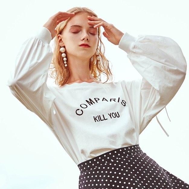 White Round Neck Long Sleeve Standard Women's T-Shirt