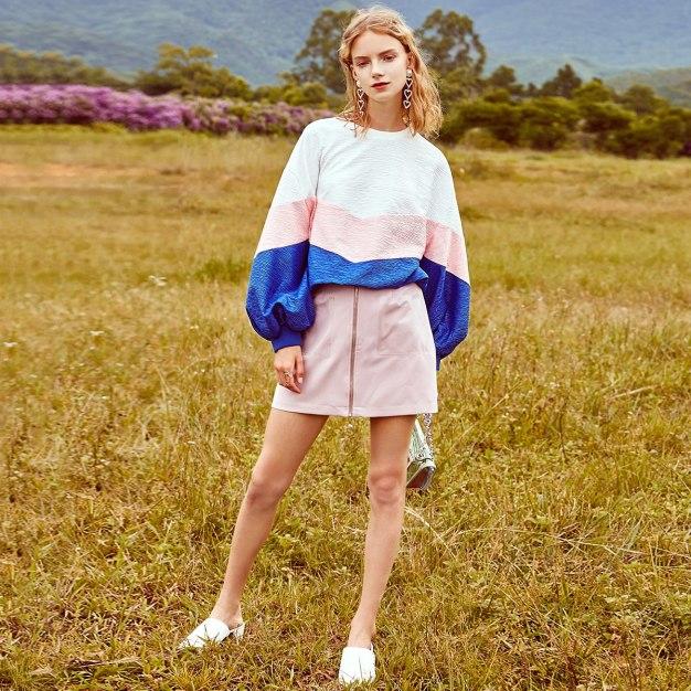 White Color Block Round Neck Elastic Women's Sweatshirt