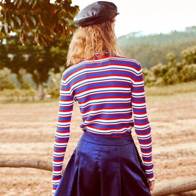 Red Stripes High Neck Long Sleeve Fitted Women's T-Shirt