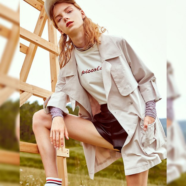 Apricot Plain Lapel Buckle Long Sleeve Loose Women's Outerwear