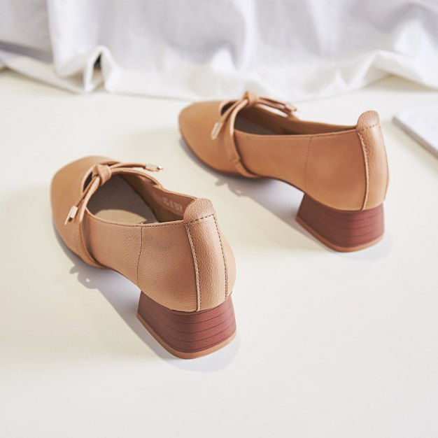 Brown Square Toe Middle Heel Women's Pumps