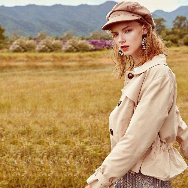 Plain Lapel Single Breasted Long Sleeve Women's Outerwear