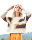 Apricot Round Neck Elastic Long Sleeve Loose Women's Sweater