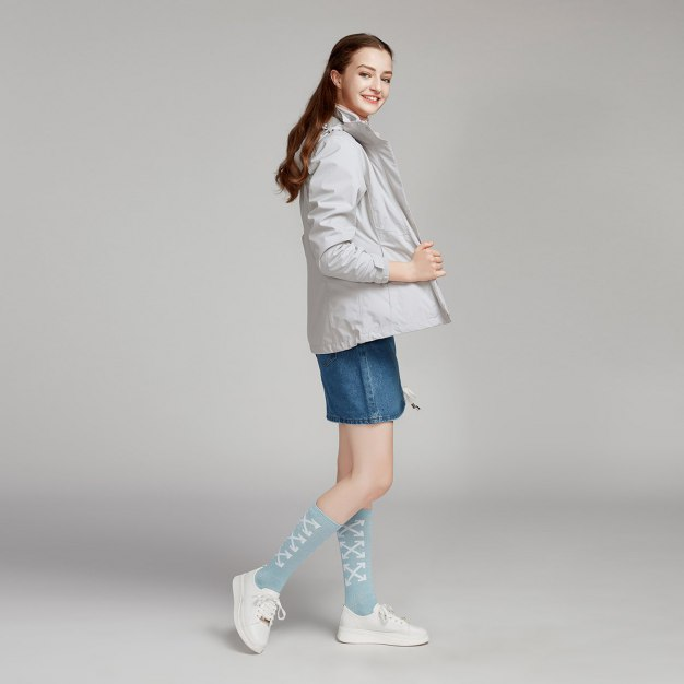 Gray Lapel Warm Women's Outerwear