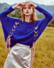 Blue Round Neck Elastic Long Sleeve Loose Women's Sweater