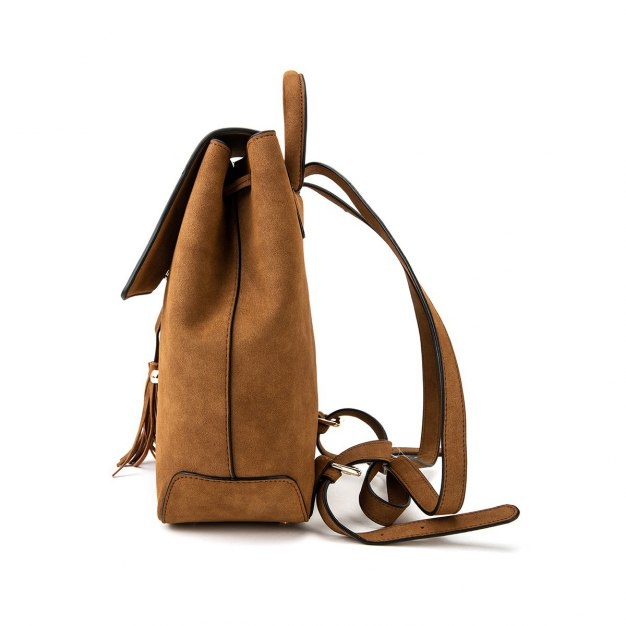 Brown PU Small Plain Women's Backpack