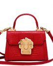 Red Plain Cowhide Leather Kelly Bag Small Women's Crossbody Bag