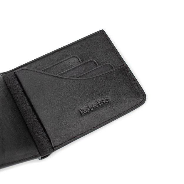 Black Plain Cowhide Leather Mini Men's Wallet & Card Case