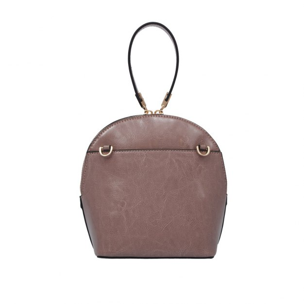 Pink Plain Cowhide Leather Shell Bag Small Women's Crossbody Bag