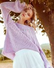 Purple Round Neck Drawstring Type Long Sleeve Women's Sweater