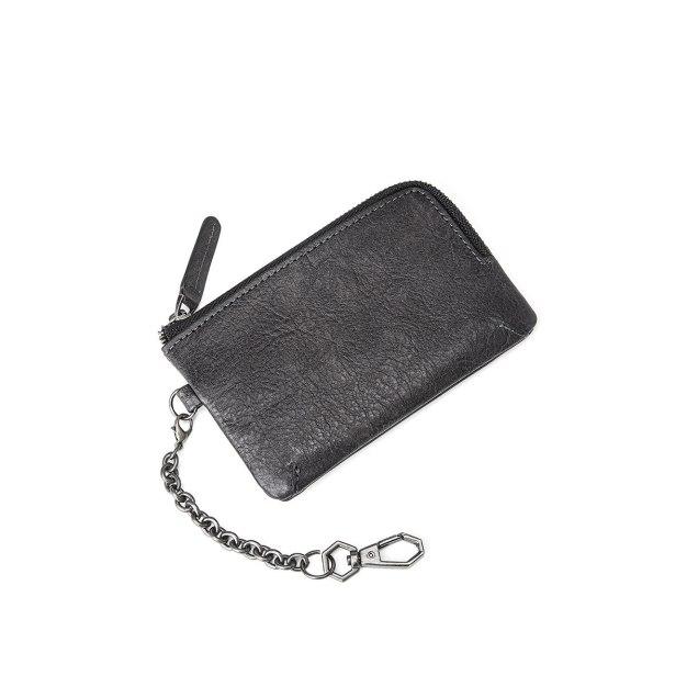 Black Plain Cowhide Leather Small Men's Key Case