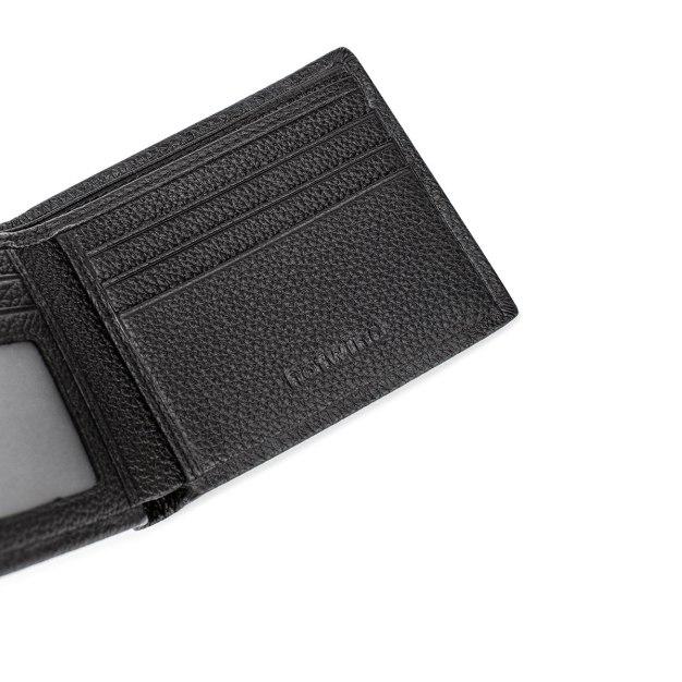 Black Cowhide Leather Mini Men's Wallet & Card Case