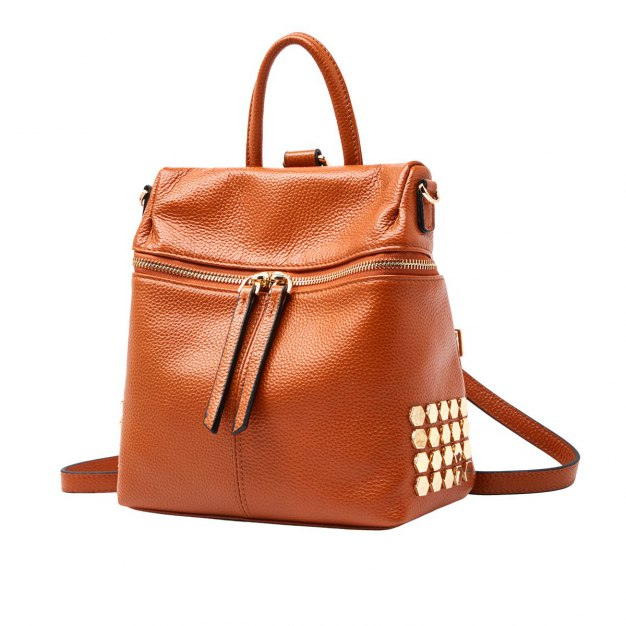 Brown Cowhide Leather Medium Plain Women's Backpack