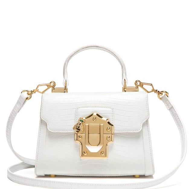 White Plain Cowhide Leather Small Women's Crossbody Bag