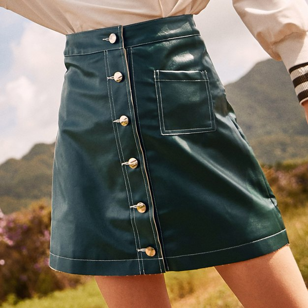 Green High Waist Women's A Line Skirt
