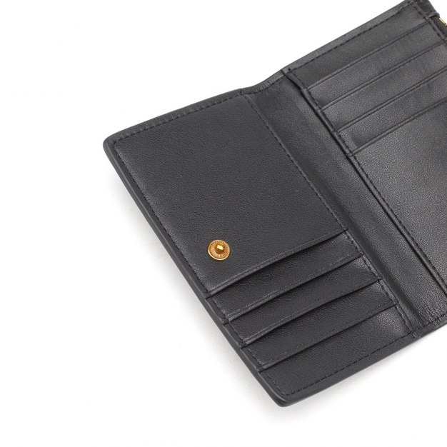 Black Cowhide Leather Small Plain Women's Card Case