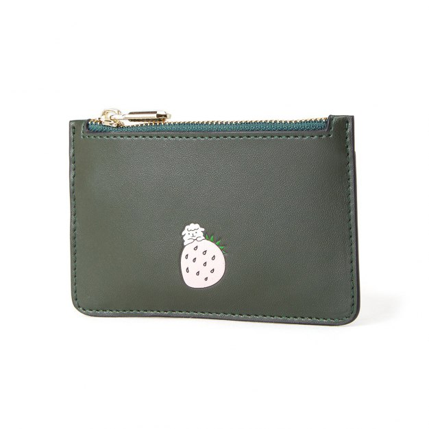 Green Cowhide Leather Small Women's Card Case