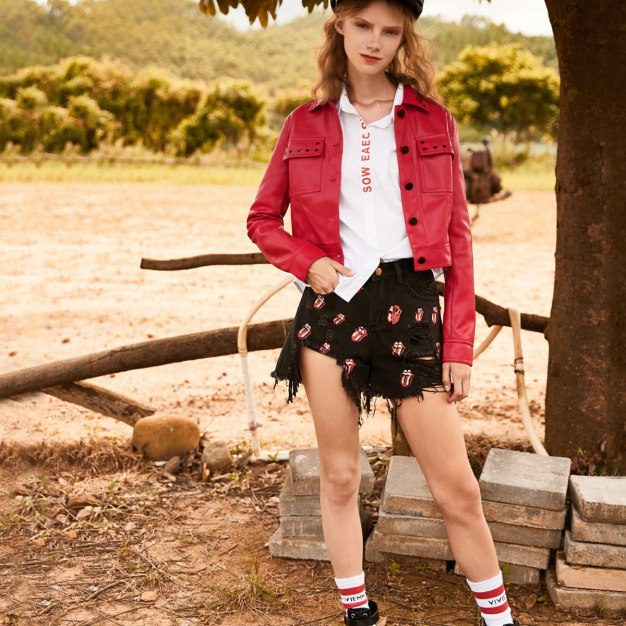 Red Plain Lapel Single Breasted Long Sleeve Women's Outerwear