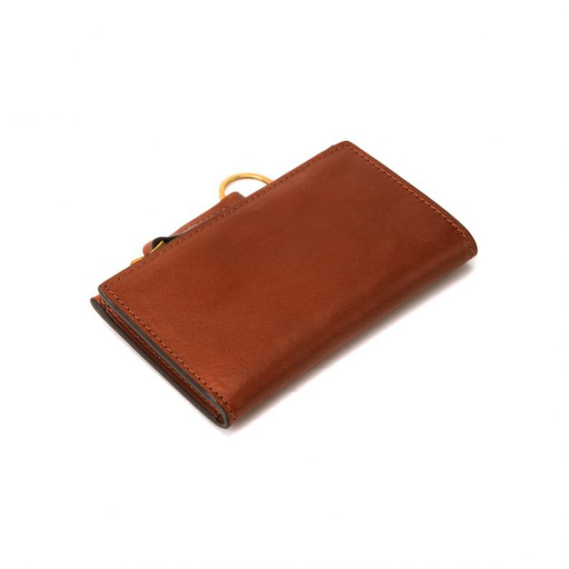 Brown Cowhide Leather Small Plain Women's Card Case
