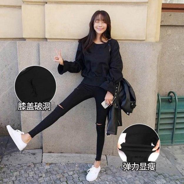 Black High Waist Ripped Cropped Women's Pants