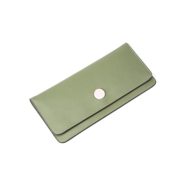 Green Plain Cowhide Leather Purse(Long) Small Women's Wallet