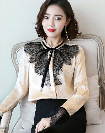 Apricot Contrast Color  Lapel  Long Sleeve  Women's Shirt