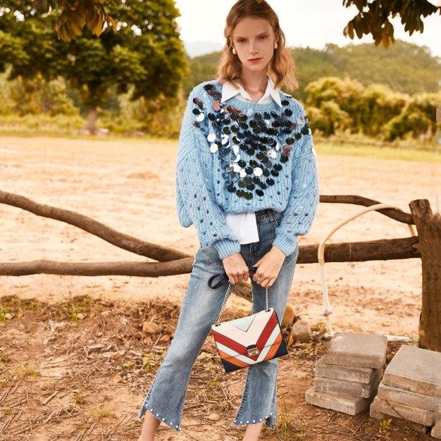 Blue Plain Round Neck Elastic Long Sleeve Loose Women's Knitwear