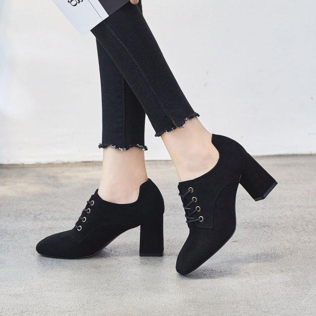 Black Square Toe of Shoes High Heel Anti Skidding Women's Pumps