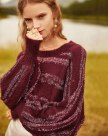 Red Embroidery Round Neck Elastic Long Sleeve Women's Knitwear