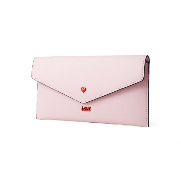 Pink Plain Cowhide Leather Purse(Long) Small Women's Wallet