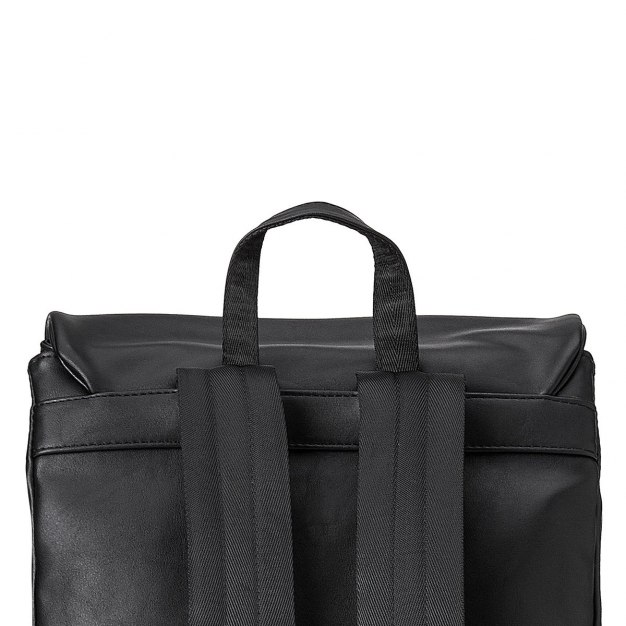 Black Plain PU Medium Men's Backpack