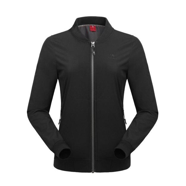 Black Stand Collar Long Sleeve Windbreak Women's Top