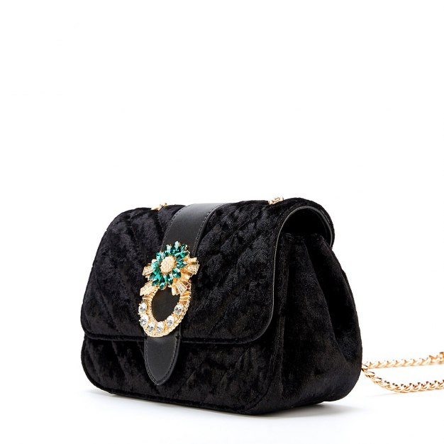 Black Plain Medium Women's Crossbody Bag