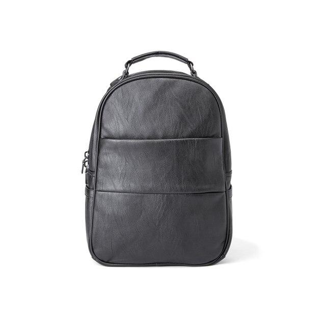 Black Plain PU Medium Men's Backpack