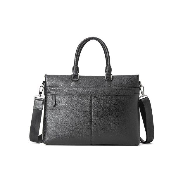 Black Plain Cowhide Leather Medium Men's Business Case