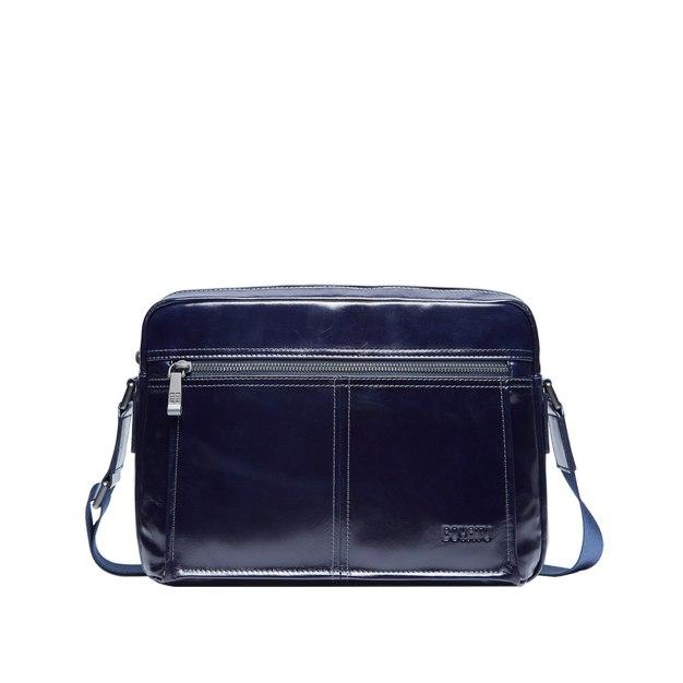 Plain Cowhide Leather Small Men's Shoulder Bag