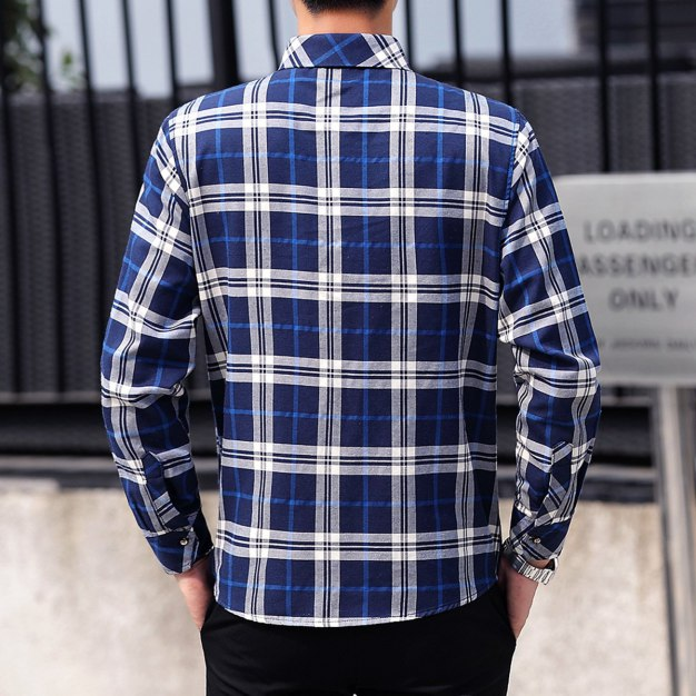 Blue Lapel Long Sleeve Men's Shirt