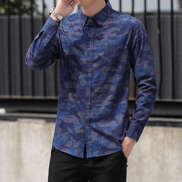 Blue Print Lapel Long Sleeve Men's Shirt