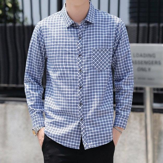 Blue Lapel Long Sleeve Men's Shirt
