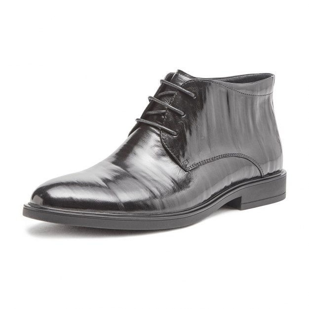 Black Round Head Men's Leather Boots