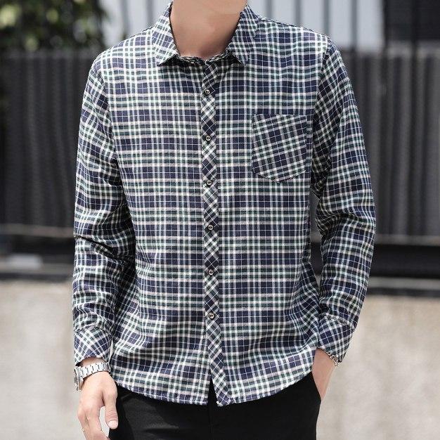 Green Lapel Long Sleeve Men's Shirt