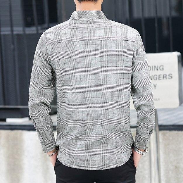 Gray Lapel Long Sleeve Men's Shirt