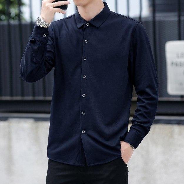Blue Plain Lapel Long Sleeve Men's Shirt