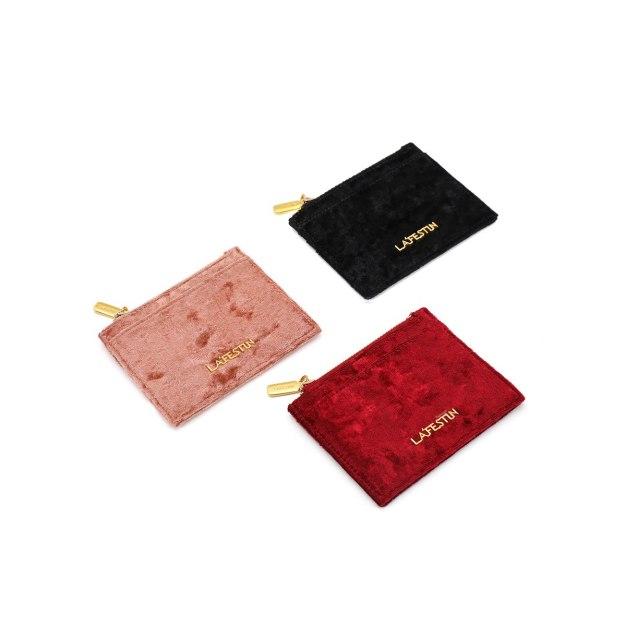 Black Plain Purse(Short) Medium Women's Wallet
