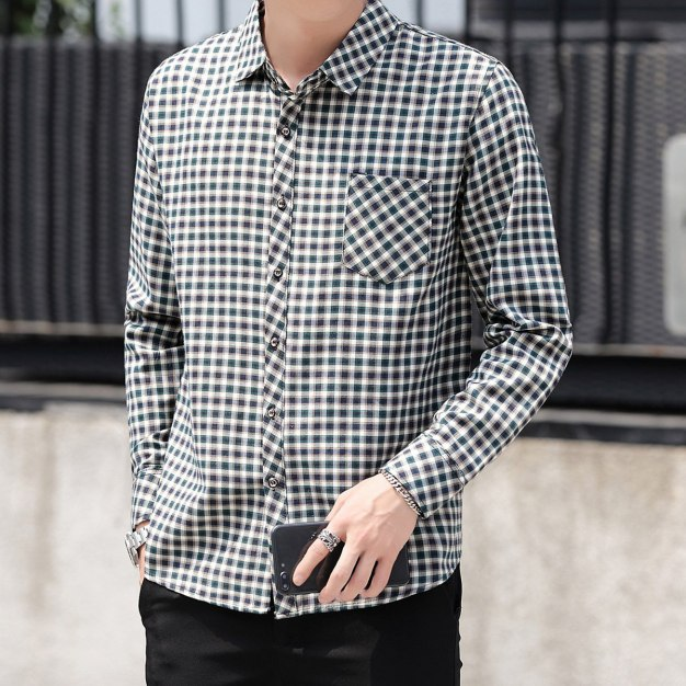 Green Lapel Long Sleeve Men's Shirt