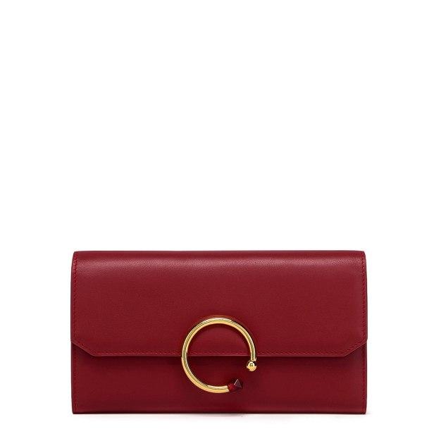 Red Plain Cowhide Leather Purse(Long) Big Women's Wallet