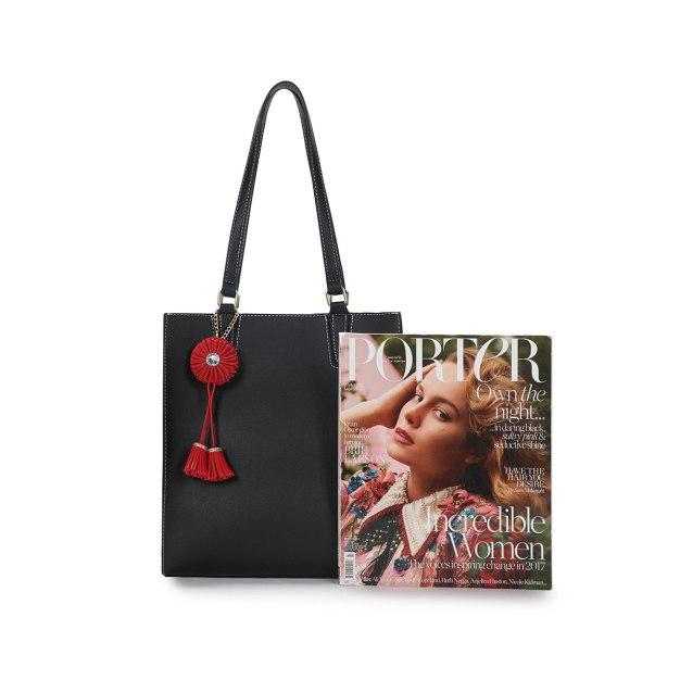 Black Plain Pvc Bucket Bag Big Women's Shoulder Bag