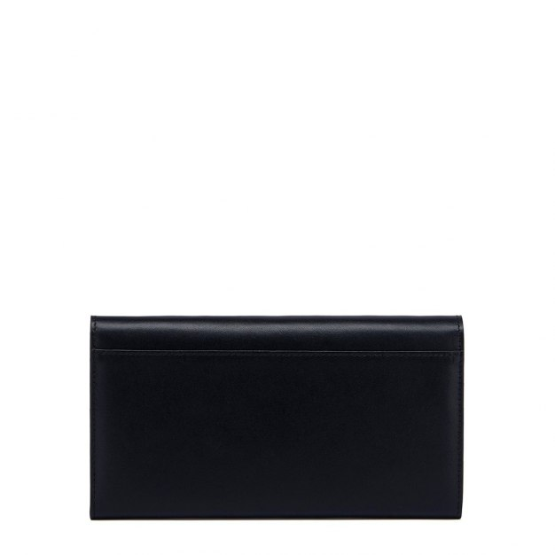 Black Plain Cowhide Leather Purse(Long) Big Women's Wallet